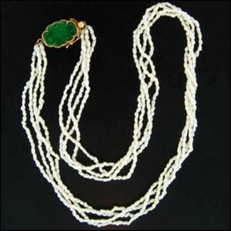 4K: NATURAL GREEN JADE NECKLACE