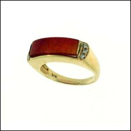 421K: NATURAL RED JADE RING