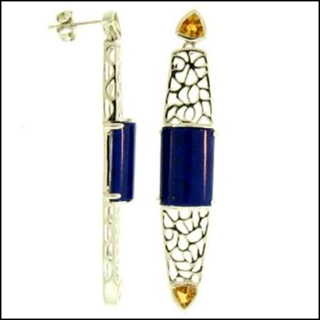 15K: NATURAL LAPIS JADE EARRINGS