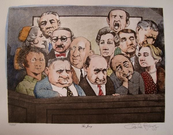13T: CHARLES BRAGG THE JURY HAND SIGNED COLOR LITHOGRAP
