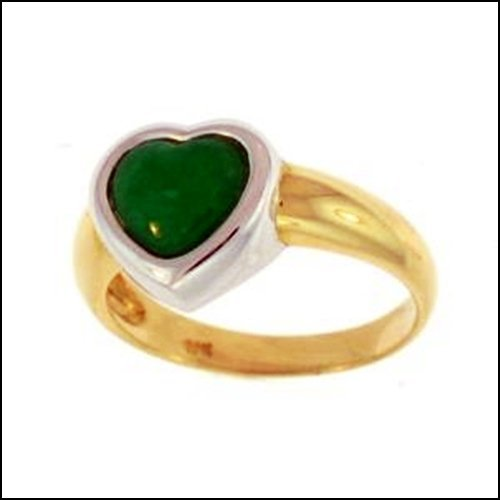 13K: NATURAL GREEN JADE RING