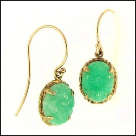 9K: NATURAL GREEN JADE EARRINGS