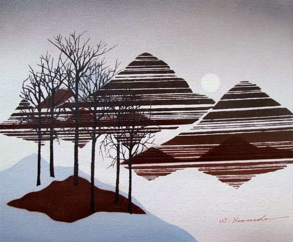 5T: BARREN LANDSCAPE WITH TREES SIGNED ORIGINAL OIL PAI