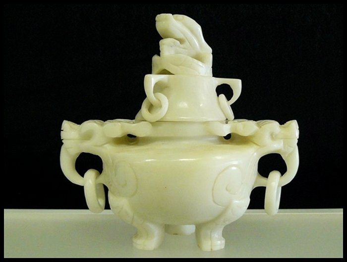 1J: WHITE JADE INCENSE BURNER