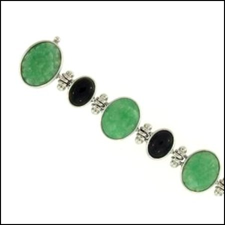 7K: NATURAL GREEN BLACK MIX JADE BRACELET