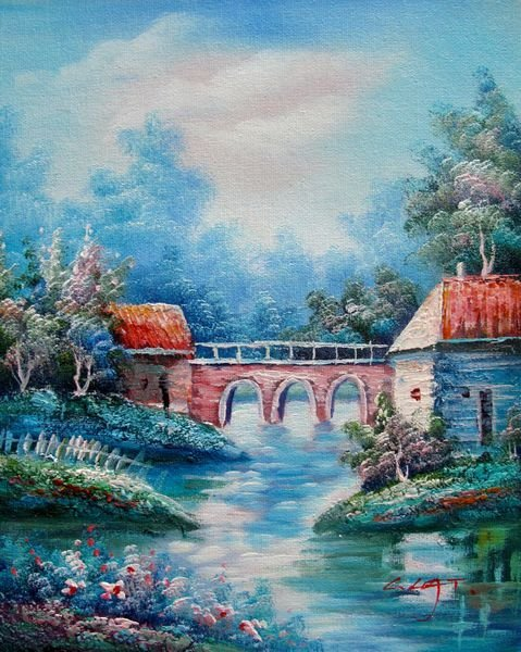 15T: BRIDGE CANAL SIGNED ORIGINAL OIL PAINTING ON CANVA