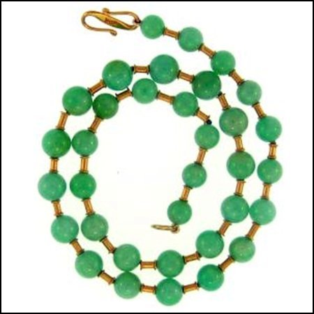 10K: NATURAL GREEN JADE NECKLACE