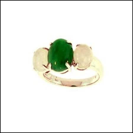 13K: NATURAL GREEN ICE WATER JADE RING