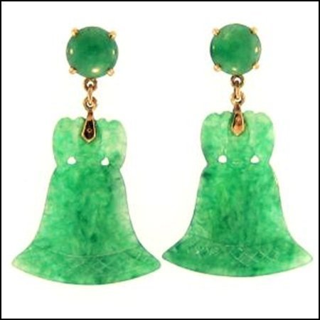 16K: NATURAL GREEN JADE EARRINGS