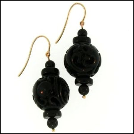 217K: NATURAL BLACK JADE EARRINGS
