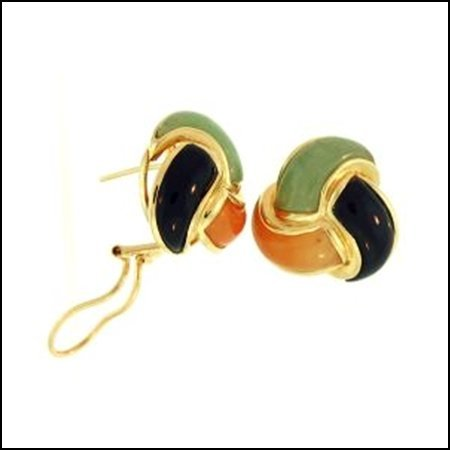 7K: Natural Multi-Color Jade Earrings