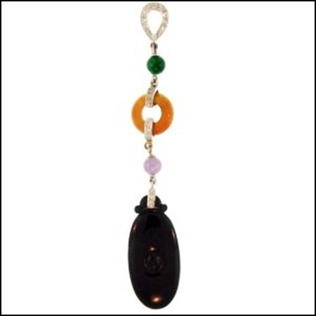 10K: Natural Black Multi-Color Jade Pendant