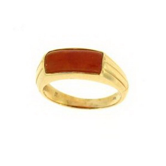 15K: NATURAL RED JADE RING