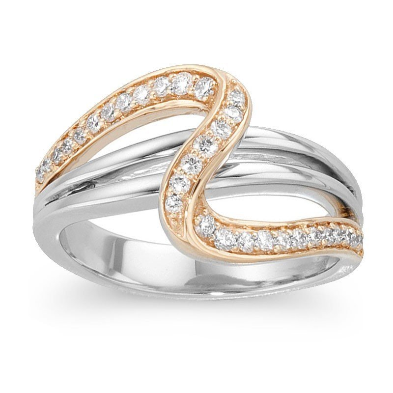 3F: 14KT YELLOW AND WHITE GOLD DIAMOND BAND