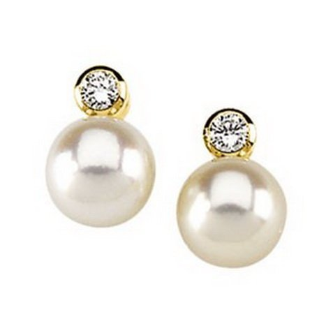 15F: 7MM PEARL EARRINGS WITH DIAMOND ACCENTS