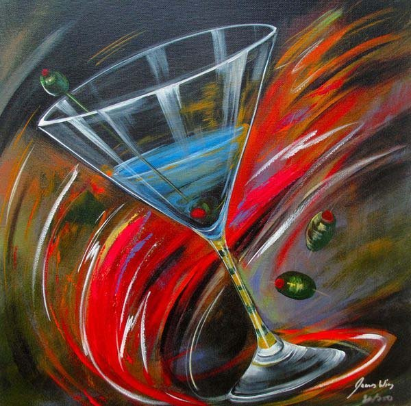 13T: JAMES WING SWIRL MARTINI HAND SIGNED LIMITED ED. G