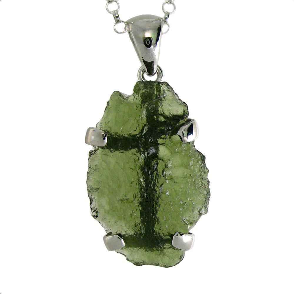 8F: Natural  Surface  Moldavite  in  Sterling