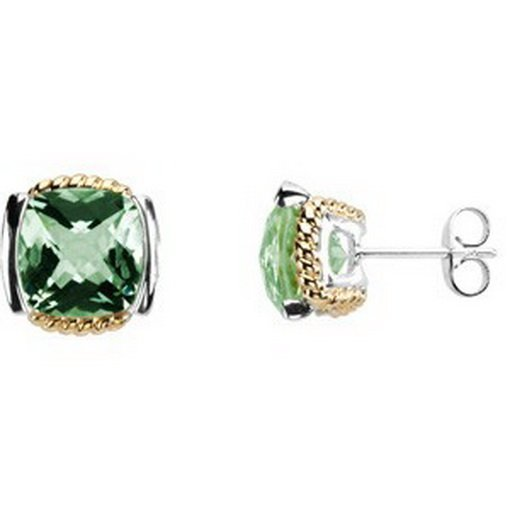 15F: Checkerboard  Green  Quartz  Earrings