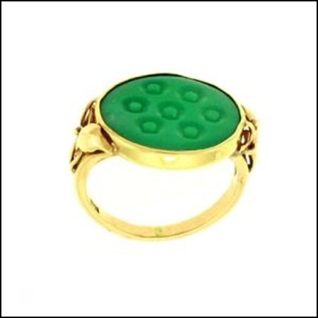 9K: NATURAL GREEN JADE RING