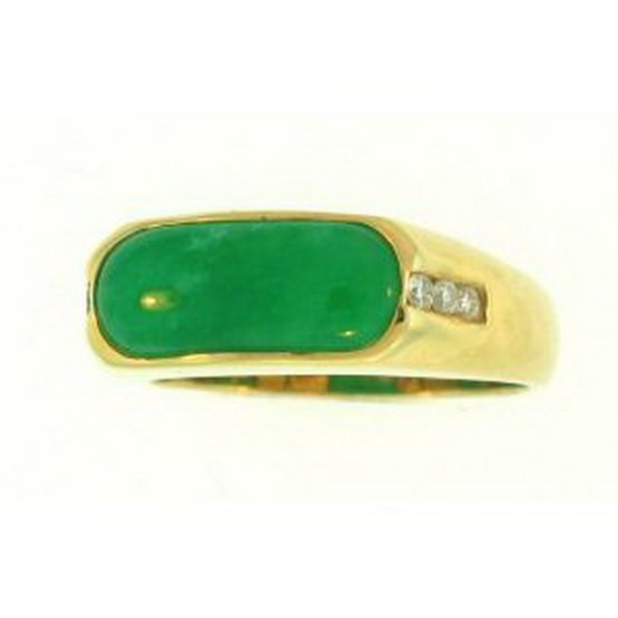 21K: NATURAL GREEN JADE RING