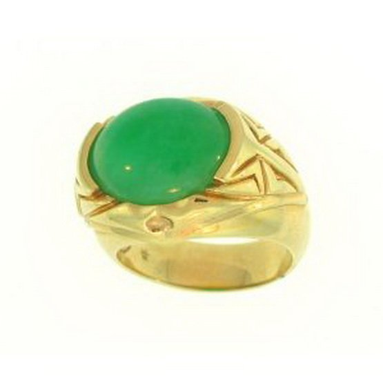 677K: NATURAL GREEN JADE RING