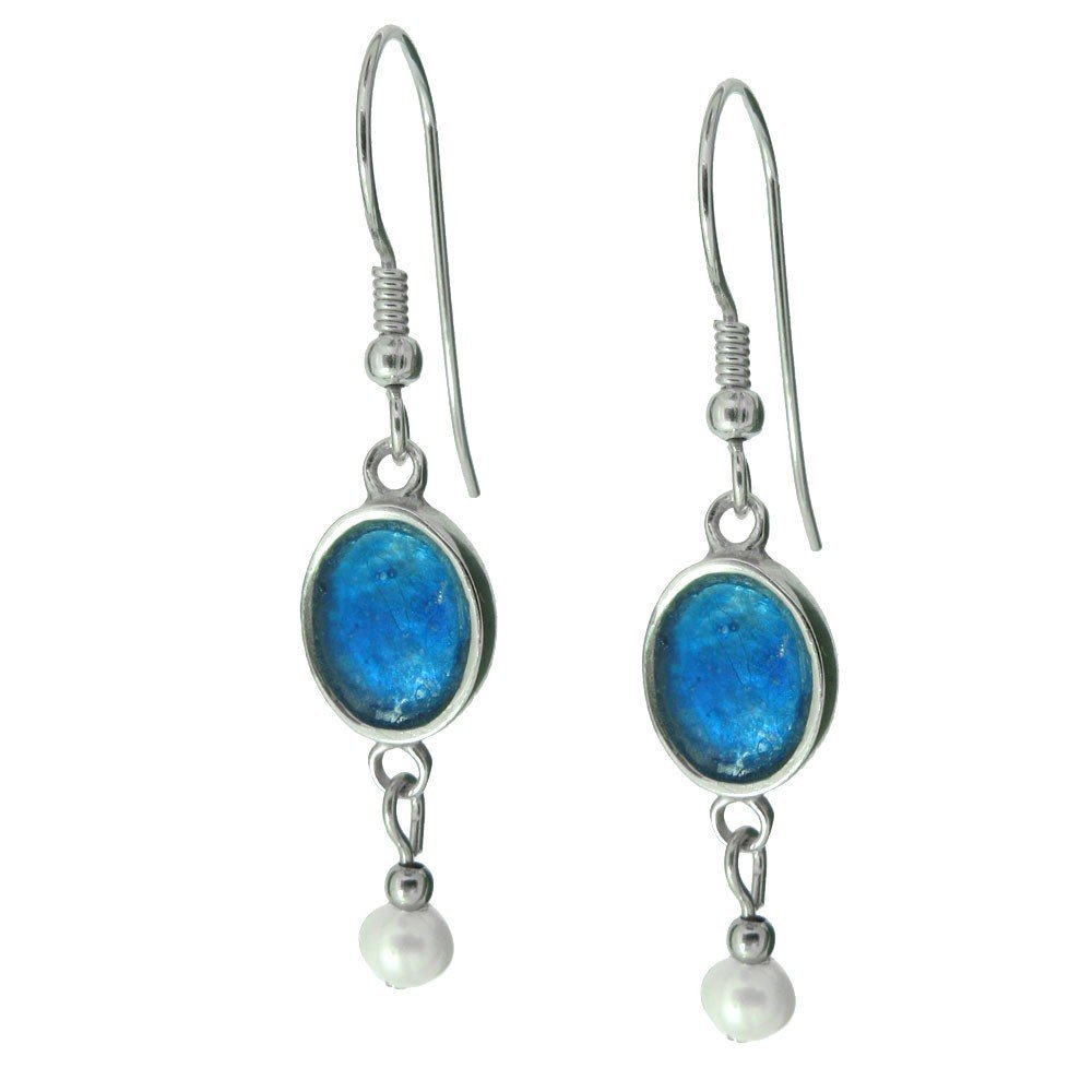 15F: Roman  Glass  and  Pearl  Drop  Earrings