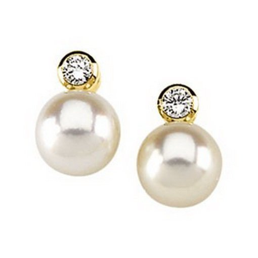 715F: 7mm  Pearl  Earrings  with  Diamond  Accents