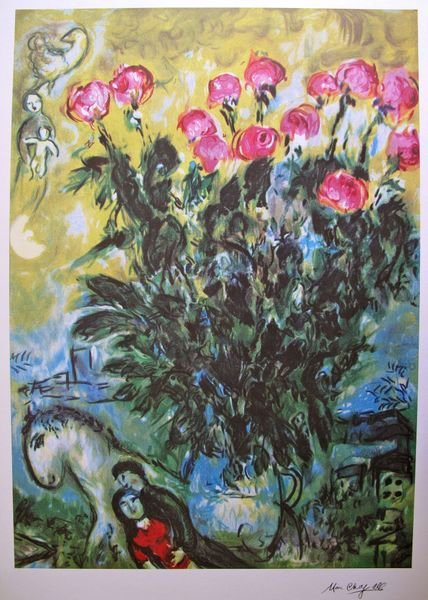 9T: MARC CHAGALL LES ROSES LIMITED ED. LITHOGRAPH