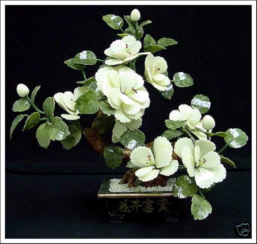 9J: REAL WHITE JADE BONSAI FLOWER