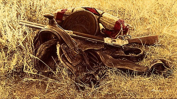7W: JAMES BAMA - 1880S STILL LIFE OF SADDLE AND RIFLE
