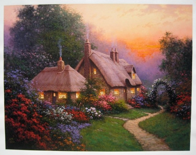 21T: SERGON HEATHER'S COTTAGE HAND SIGNED SERIGRAPH ON
