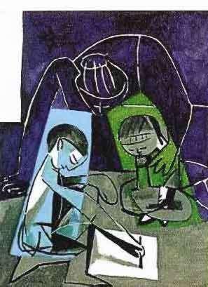 23T: #091 CHILDREN WRITING PICASSO ESTATE SIGNED GICLÉE