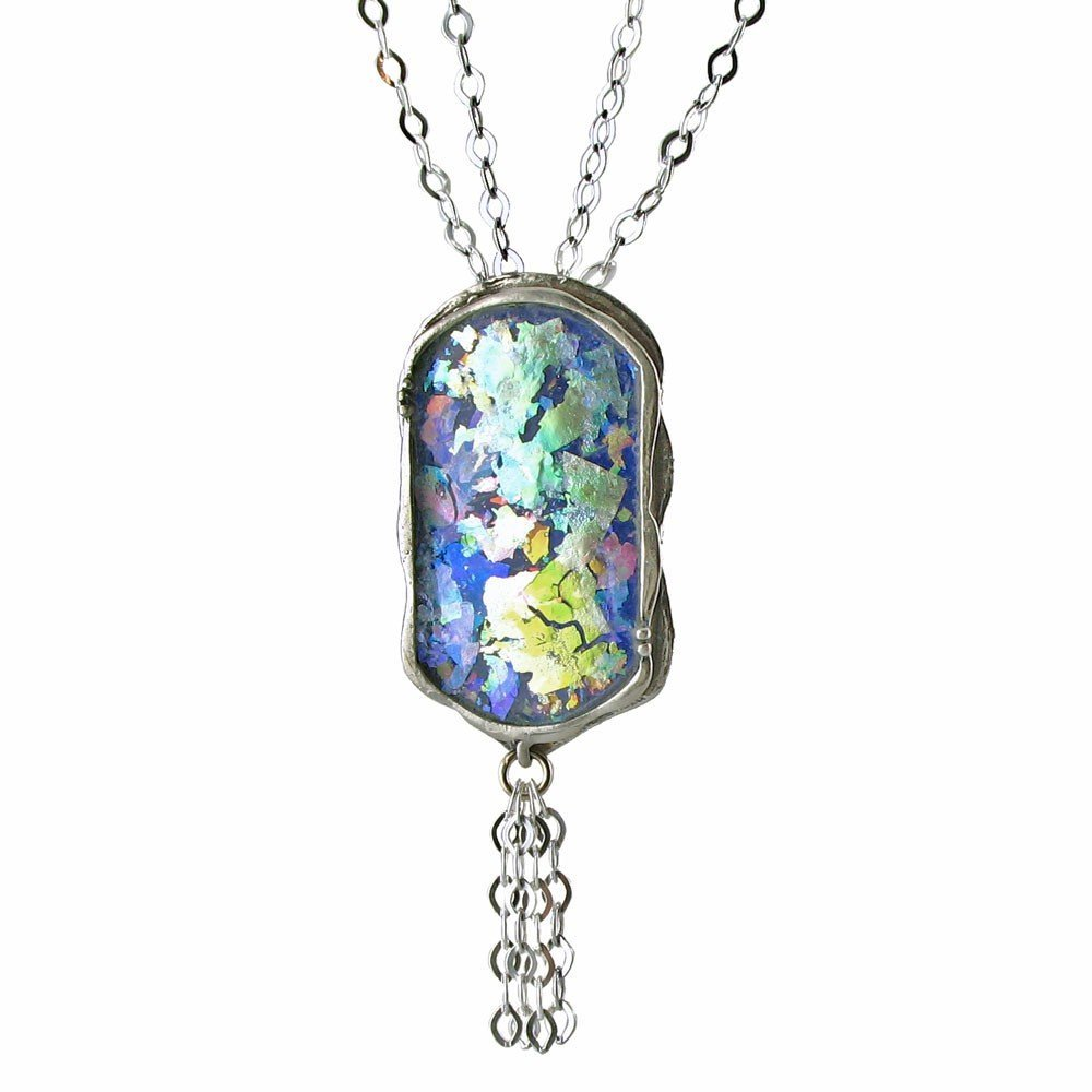 983F: ROMAN GLASS PENDANT WITH DOUBLE LINK CHAIN