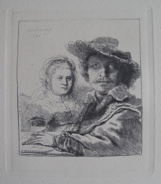 992T: REMBRANDT SELF PORTRAIT WITH SASKIA ETCHING