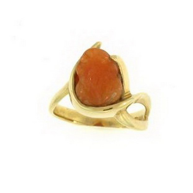 14K: NATURAL RED JADE RING
