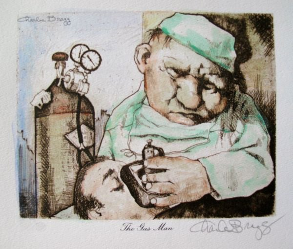 12T: CHARLES BRAGG THE GAS MAN HAND SIGNED COLOR LITHOG