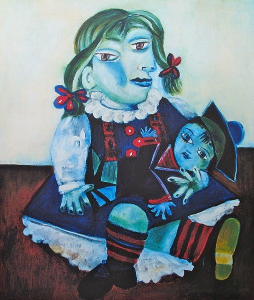 132T: #70 MAYA WITH DOLL PICASSO ESTATE SIGNED GICLÉE