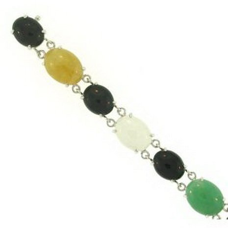 10K: NATURAL MULTI-COLOR JADE BRACELET