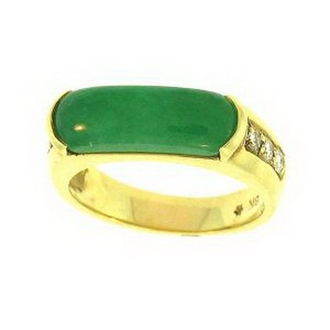 12K: NATURAL GREEN JADE RING