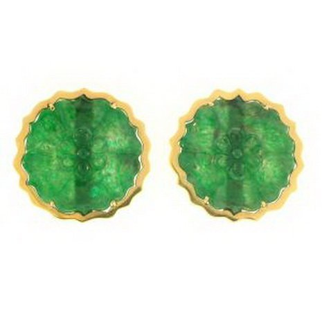 18K: NATURAL GREEN JADE EARRINGS