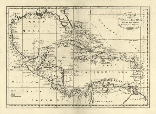16B: MATHEW CAREY - CHART OF THE WEST INDIES, 1795