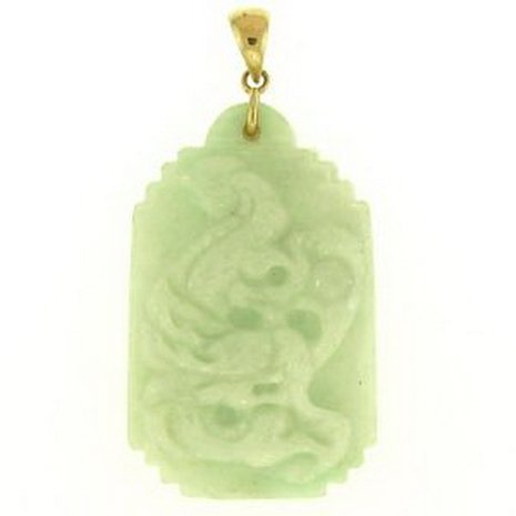 11K: NATURAL GREEN JADE PENDANT