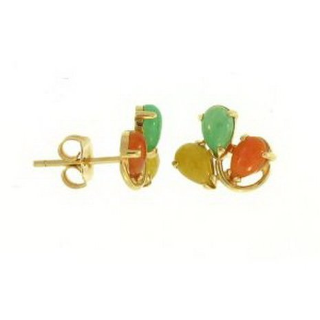 9K: NATURAL MULTI-COLOR JADE EARRINGS