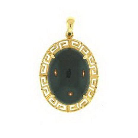 11K: NATURAL BLACK JADE PENDANT