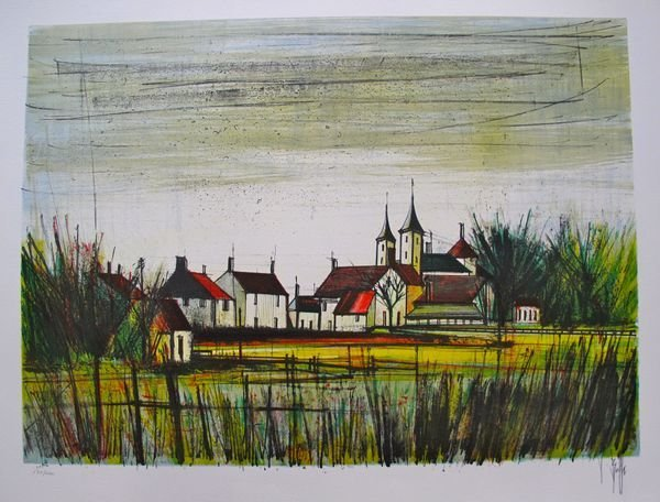 7T: V BEFFA FRENCH VILLAGE HAND SIGNED LIMITED ED LITHO
