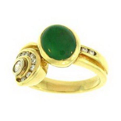 205K: NATURAL GREEN JADE RING