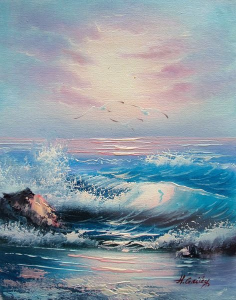9T: OCEAN WAVES SIGNED ORIGINAL OIL PAINTING ON CANVAS