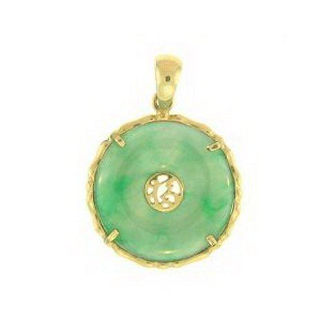 3K: Natural Green Jade Pendant