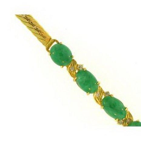 13K: Natural Green Jade Bracelet
