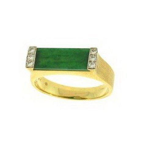 17K: Natural Green Jade Ring